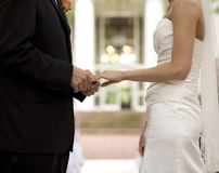 Sposa e sposo che scambiano gli anelli Fotografia Stock Libera da Diritti