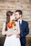 Sposa e sposo che se lo esaminano Fotografia Stock Libera da Diritti