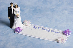 Sposa e sposo con un certificato di regalo Fotografia Stock Libera da Diritti