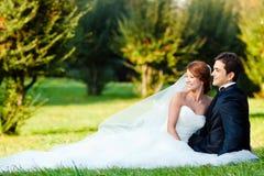 Sposa e sposo felici Fotografie Stock Libere da Diritti
