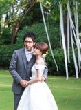 Sposa e sposo felici Immagine Stock Libera da Diritti