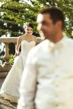 Sposa e sposo felici della coppia sposata Immagini Stock