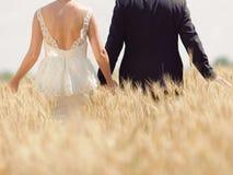 Sposa e sposo nel giacimento di grano Fotografia Stock