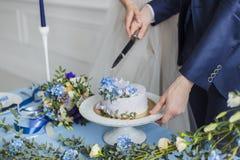 Sposa e sposo a nozze che tagliano il dolce Immagine Stock
