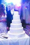 Sposa e sposo a nozze che tagliano la torta nunziale Fotografia Stock
