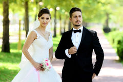 Sposa e sposo in parco naturale immagini stock libere da diritti