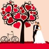 Sposa e sposo Partecipazione di nozze con le persone appena sposate fotografia stock