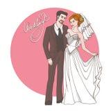 Sposa e sposo, partecipazione di nozze o invito Immagini Stock Libere da Diritti