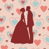 Sposa e sposo Silhouette - illustrazione Immagini Stock