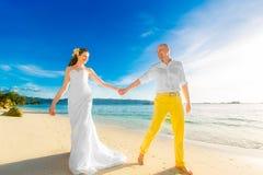 Sposa e sposo su una spiaggia tropicale con il tramonto nel backg Fotografie Stock