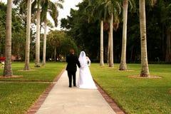 Sposa e sposo sul percorso di vita immagini stock