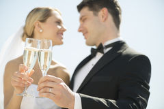 Sposa e sposo Toasting Champagne Flutes Against Sky Immagini Stock