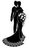 Sposa e sposo Wedding Silhouette Fotografia Stock Libera da Diritti