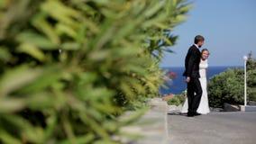 Sposa felice e sposo che camminano nel parco contro il contesto del mare La Grecia stock footage