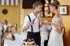 Sposa felice e sposo che tagliano la loro torta nunziale Fotografie Stock