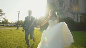 Sposa felice e sposo che tengono le loro mani che corrono sull'erba verde al sole video d archivio