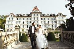 Sposa felice e sposo delle coppie che camminano sulle scale davanti a luxur Fotografia Stock Libera da Diritti