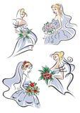 Sposa in fiori della tenuta dell'abito Fotografia Stock