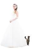 Sposa isolata su bianco Fotografie Stock