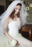 Sposa romantica nel vestito da sposa Fotografie Stock Libere da Diritti