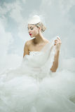Sposa sopra i precedenti del cielo Stile dell'annata Fotografia Stock