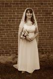 Sposa sorridente dell'annata Fotografia Stock