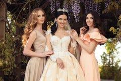 Sposa splendida in vestito da sposa lussuoso, posante con le belle damigelle d'onore in vestiti eleganti Fotografie Stock Libere da Diritti