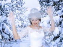 Sposa sul fondo di inverno Fotografia Stock