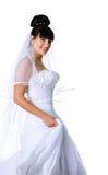 Sposa sveglia in un vestito bianco Fotografia Stock Libera da Diritti
