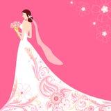 Sposa in vestito da cerimonia nuziale floreale Fotografia Stock