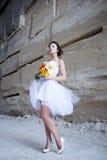 Sposa vicino alla parete di pietra Immagini Stock