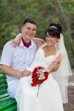Sposato appena in giorno di loro cerimonia nuziale Fotografia Stock