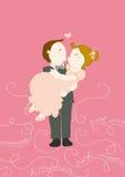 Sposato appena nell'abbraccio illustrazione di stock
