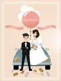 Sposato appena Retro automobile con appena il segno sposato Automobile decorata di nozze Illustrazione di vettore illustrazione di stock