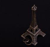 Sposato sotto la torre Eiffel Fotografia Stock