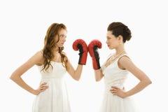 Spose con i guanti di inscatolamento. fotografia stock
