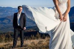 Sposo bello che esamina la sua bella sposa che posa sulla priorità alta Luna di miele nelle montagne Fotografia Stock