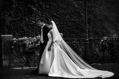 Sposo bello e sposa castana sexy che camminano vicino al vecchio spirito della parete Immagine Stock Libera da Diritti