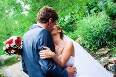 Sposo che bacia sposa Fotografie Stock Libere da Diritti