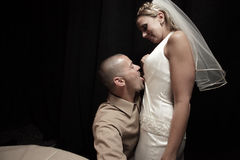 Sposo che lecca la sposa Fotografie Stock Libere da Diritti