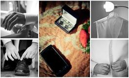 Sposo che ottiene collage pronto Fotografia Stock
