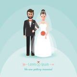 Sposo e sposa sul giorno delle nozze illustrazione vettoriale
