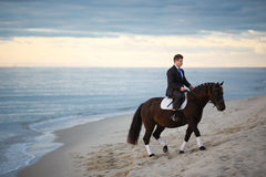 Sposo su un cavallo fotografie stock