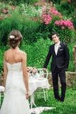 Sposo in un costume nero che invita la sua sposa fotografia stock libera da diritti