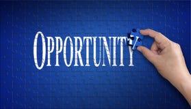 Sposobności słowo na wyrzynarki łamigłówce Mężczyzna ręka trzyma błękitnego puzzl Zdjęcie Stock