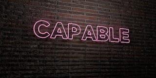 SPOSOBNY - Realistyczny Neonowy znak na ściana z cegieł tle - 3D odpłacający się królewskość bezpłatny akcyjny wizerunek ilustracji