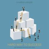 Sposobu sukcesu mieszkania 3d biznesowej sieci isometric infographic pojęcie Obraz Royalty Free