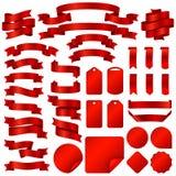 Spostamento le insegne del nastro e dell'insieme rossi di vettore dei distintivi del prezzo da pagare illustrazione vettoriale