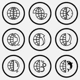 Sposti il globo, globo ed orologio e telefono e matrice su e matrice Fotografia Stock