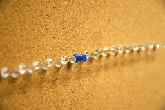 Spot on. A blue push-pin in the center of many clear ones on a bulletin board Stock Photos
